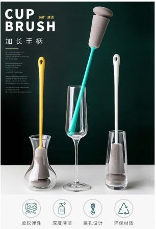 長柄海綿杯刷廚房家用加長洗茶杯去茶汙漬水壺保溫瓶玻璃清潔刷子