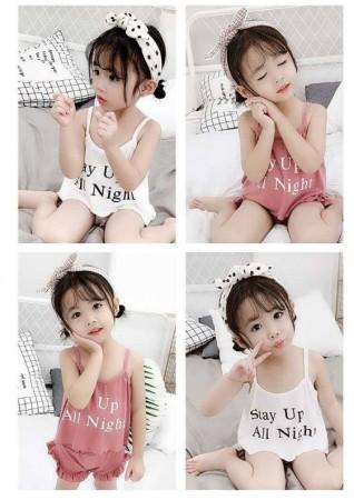 女童幼童韓版夏季細肩帶純棉家居服兩件式(1-5歲)