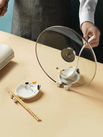 卡通陶瓷鍋蓋、湯杓及筷子架(廚房放湯杓架神器)一組/2入(集貨商品)