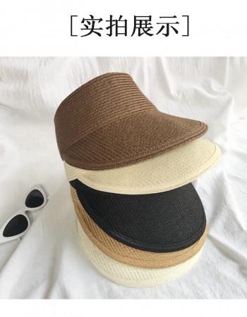 空頂帽檐寬帶草帽 草編 網球帽 無頂 空頂 遮陽帽 草帽 編織 防曬 防飛 帽子 可折收納