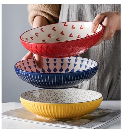 北歐創意波西米亞幾何圖樣彩色圓深盤(團購商品)