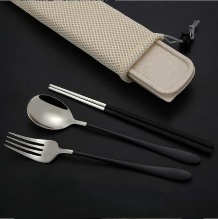 304不鏽鋼餐具筷勺叉組 附收納袋(團購商品)