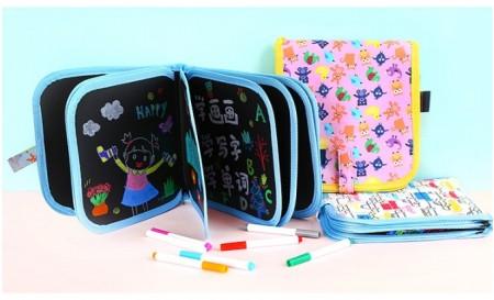 兒童便攜帶式畫板畫冊涂雅寫字繪畫小黑板可擦水粉筆畫畫本