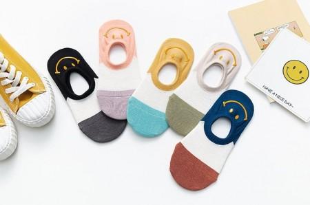 笑臉撞色船型襪1組/5雙(預購商品)