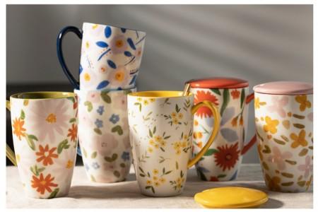 北歐花語高款陶瓷馬克杯(預購團購商品)