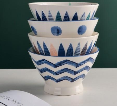 日式陶瓷手繪斗笠造形飯碗團購商品
