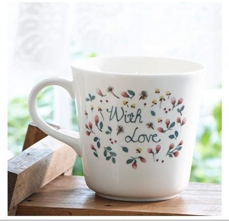 日本原產NARUMI鳴海 Anna Emilia安娜艾米利亞系列骨瓷馬克杯水杯(WITH LOVE)