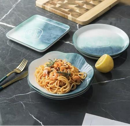 北歐風格Lucky day漸變色陶瓷餐盤(預購團購商品)