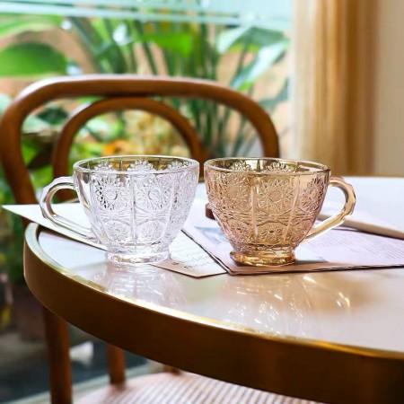 宮廷復古浮雕花茶杯碟組(預購商品)