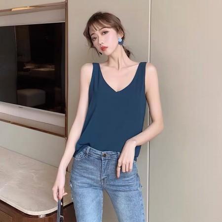 夏天內搭無袖小雪紡V領衫 (預購商品)