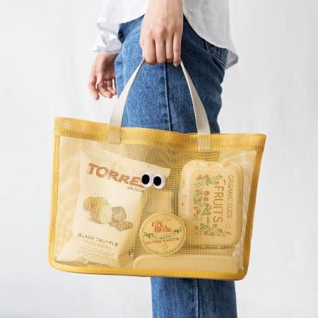 韓國時尚透網眼手提包沙灘泳池旅行收納拎袋包(團購商品周日結單,14~21天寄出)