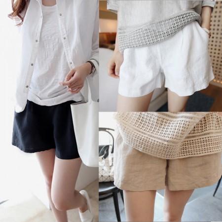 韓版新款棉麻女短褲,亞麻直筒顯瘦高腰短褲(團購商品)