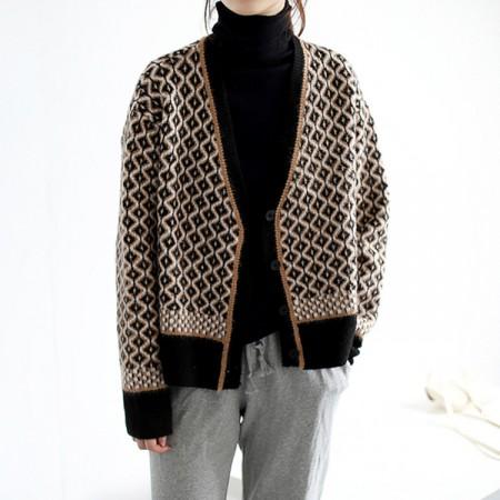 2020秋冬韓版復古氣質撞色針織V領菱格寬鬆外套(預購團購商品)