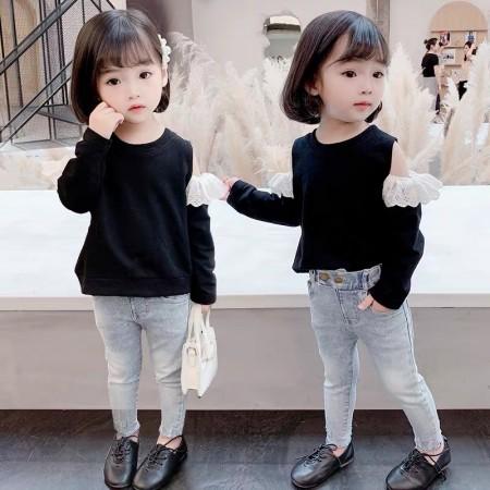 女童長袖T恤2020露肩韓版寬鬆上衣(預購團購商品)