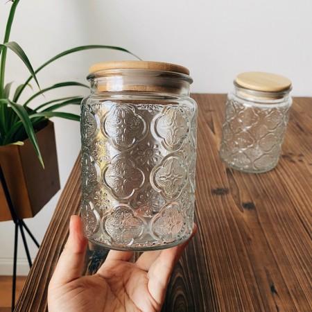 海棠花老式壓花玻璃密封罐(預購商品14~21天到貨)