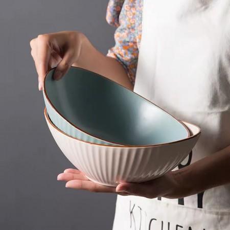 創意陶瓷北歐船形流水紋沙拉碗(預購商品14~21天到貨)