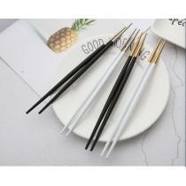 簡約純色不銹鋼筷子 尖頭日式筷子家用創意防滑料理筷(清倉價6折)