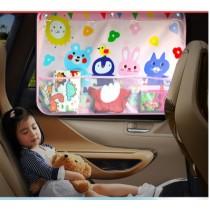 韓版可愛圖樣汽車遮陽窗簾 吸盤式防曬遮陽隔離紫外線UV (團購商品)