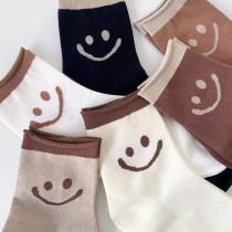 爆款新品笑臉中筒襪  韓系純色卷邊春夏薄款女襪(預購團購商品)