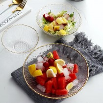 日式金邊冰花錘目紋玻璃沙拉水果碗(預購商品)