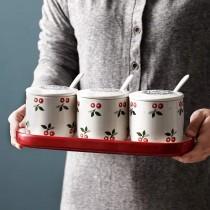日式櫻桃可愛三件調味盒組含底盤(預購商品)