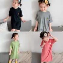 兒童薄款莫代爾純色家居連衣裙(預購商品)