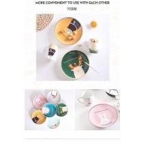 北歐卡通INS彩色早餐瓷盤、馬克杯(預購款,每周五結單,14~21天寄出)