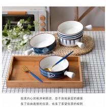 創意手繪陶瓷單柄烤碗烘焙甜點手把碗烤箱焗飯碗早餐碗湯面手把碗(團購商品)