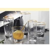日式錘目紋 描金邊玻璃水杯 直行杯(團購商品)