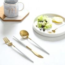 葡萄牙同款磨光拉絲304白柄金色拉絲不銹鋼刀、叉、圓湯匙(團購商品)