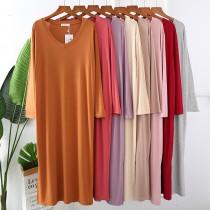 莫代爾V領設計寬鬆版型連衣長袖居家服(預購團購商品)