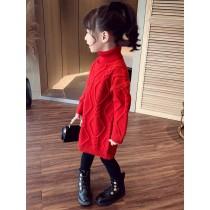 韓版麻花寬鬆版型高領毛衣裙 女童(預購商品)