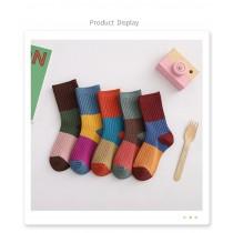兒童秋冬純棉拼色針織條紋中筒襪,5雙/組(預購商品)
