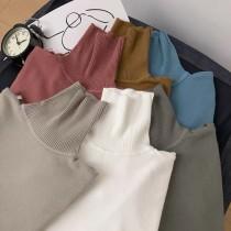 秋冬季男款兩翻高領純色針織打底衫(預購商品)