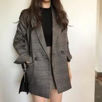 春季中性風復古格紋氣質西裝領寬鬆直筒長袖西裝外套 (預購商品)