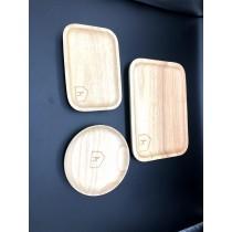 【北歐屋子】北歐屋子LOGO雜貨進口櫸木日式圓形茶盤餐盤