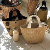 ins風竹編手提包 編織包 手提包 草編包 藤編包 竹編包 夏季 沙灘包 購物袋 日系