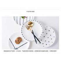 四入裝北歐風格簡單創意家用早餐圓形瓷盤8吋(20CM)